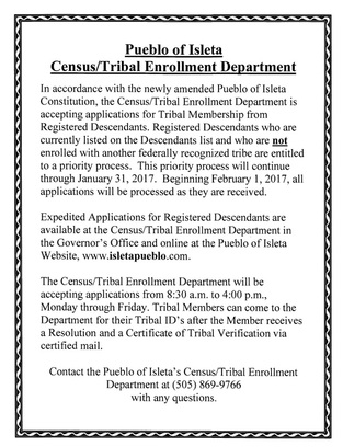 flyer Census, Tribal Enrollment Notice