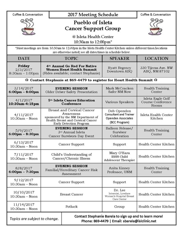 2017 Cancer Support Meeting Schedule at Isleta Health Center