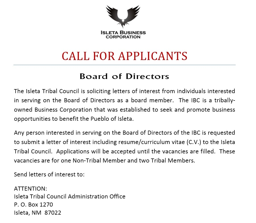 Tribal Council Isleta Business Corporation, Board Member Solicitation