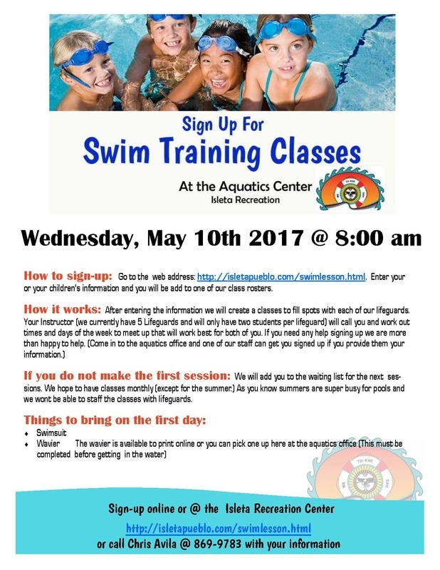 Swim Lessons at the Isleta Rec Center